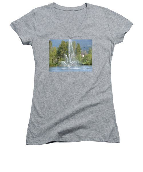 Women's V-Neck T-Shirt (Junior Cut) featuring the painting Lafarge Lake Fountain by Rod Jellison