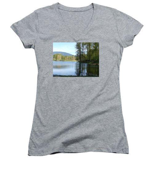Women's V-Neck T-Shirt (Junior Cut) featuring the painting Lafarge Lake Serenity by Rod Jellison