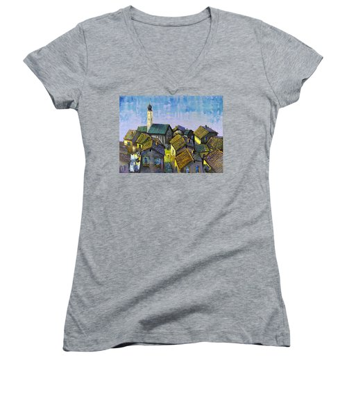 Women's V-Neck T-Shirt (Junior Cut) featuring the painting Lago   Caldonazza by Mikhail Zarovny