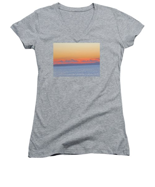 Laguna Orange Sky Women's V-Neck T-Shirt (Junior Cut) by Dan Twyman