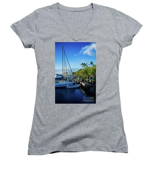 Women's V-Neck T-Shirt (Junior Cut) featuring the photograph Lahaina Marina Blue Twilight by Sharon Mau
