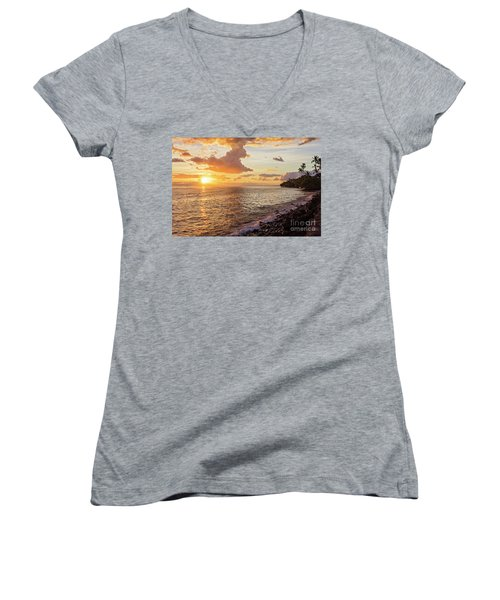 Lahaina Sunset Women's V-Neck (Athletic Fit)