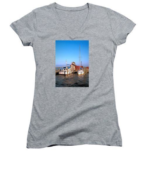 Women's V-Neck T-Shirt (Junior Cut) featuring the photograph Laid Back by Marion Johnson