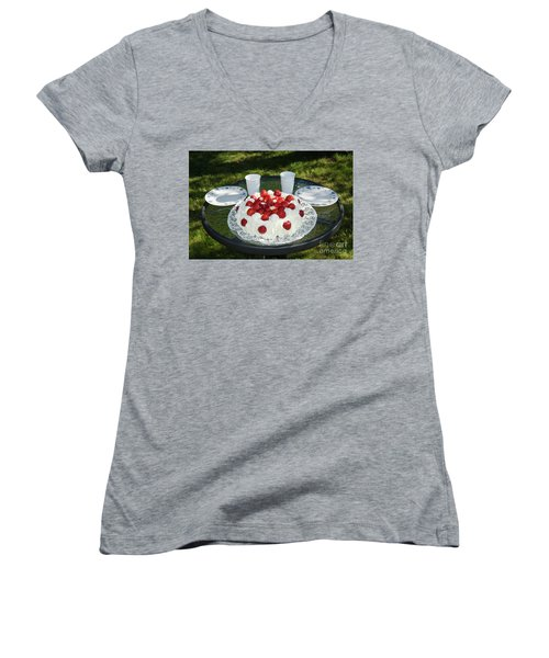 Women's V-Neck T-Shirt featuring the photograph Laid Summer Table by Kennerth and Birgitta Kullman