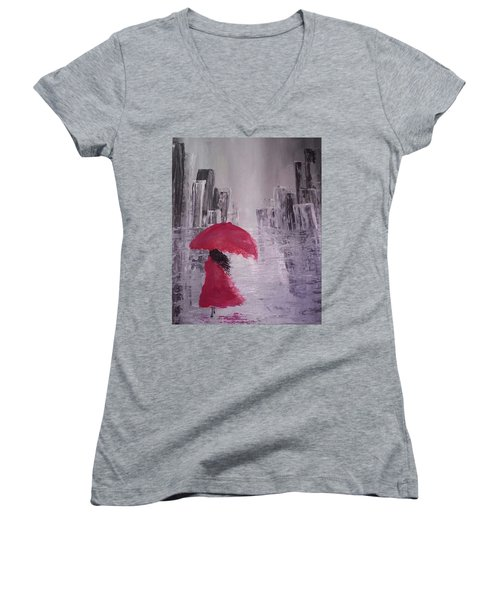 Laidy In The City Abstract Art Women's V-Neck T-Shirt