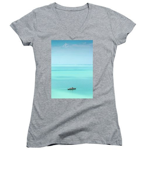 Lake Balaton Women's V-Neck T-Shirt (Junior Cut) by Steven Richman