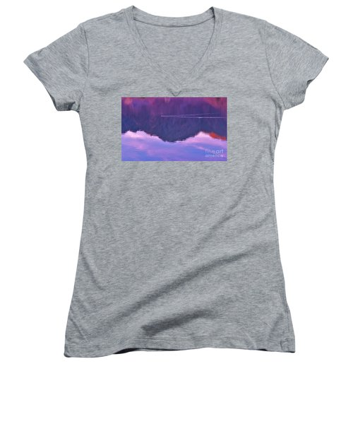 Lake Cahuilla Reflection Women's V-Neck T-Shirt (Junior Cut) by Michele Penner
