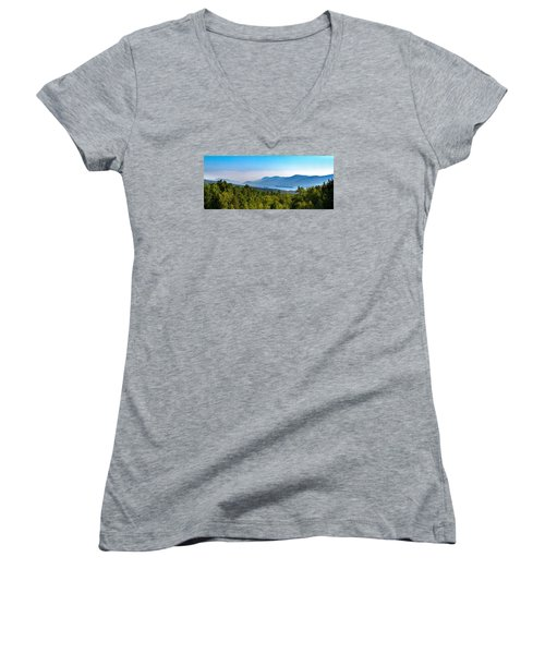Lake George, Ny And The Adirondack Mountains Women's V-Neck T-Shirt (Junior Cut) by Brian Caldwell