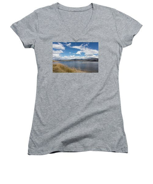 Women's V-Neck T-Shirt (Junior Cut) featuring the photograph Lake Granby -- The Third-largest Body Of Water In Colorado by Carol M Highsmith