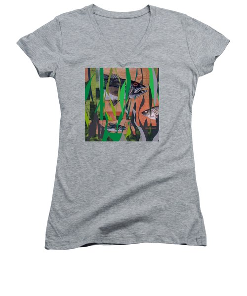 Women's V-Neck T-Shirt (Junior Cut) featuring the mixed media Lake Habitat by Andrew Drozdowicz