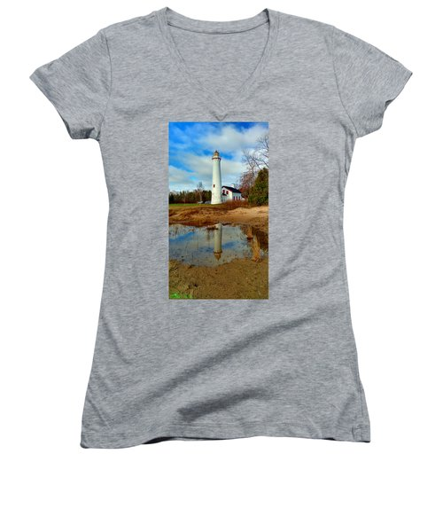 Lake Huron Lighthouse Women's V-Neck (Athletic Fit)