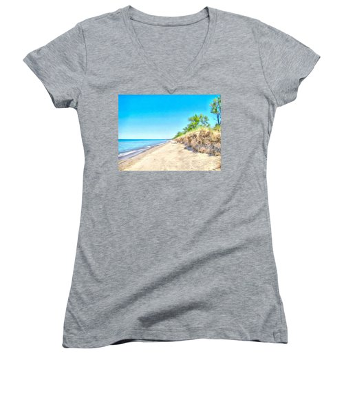 Lake Huron Shoreline Women's V-Neck T-Shirt (Junior Cut) by Maciek Froncisz