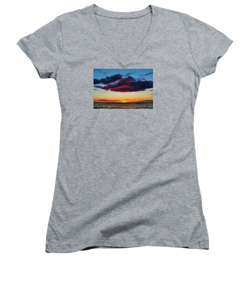 Lake Huron Sunset Women's V-Neck T-Shirt