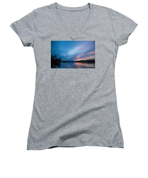 Lake James Portal Women's V-Neck T-Shirt (Junior Cut) by Robert Loe