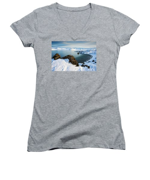 Women's V-Neck T-Shirt featuring the photograph Lake Kleifarvatn Iceland In Winter by Matthias Hauser