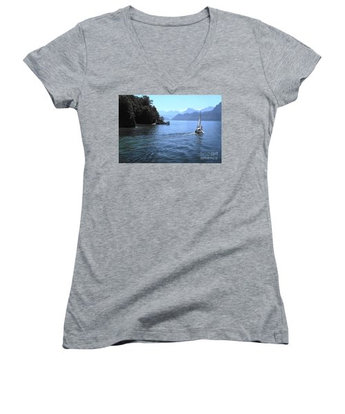 Lake Lucerne Women's V-Neck T-Shirt (Junior Cut) by Therese Alcorn