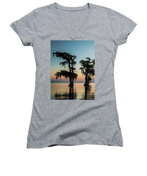 Lake Maurepas Sunrise Triptych No 3 Women's V-Neck T-Shirt (Junior Cut) by Andy Crawford