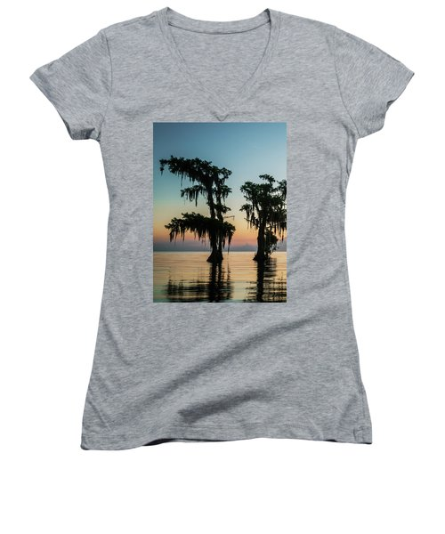 Lake Maurepas Sunrise Triptych No 3 Women's V-Neck