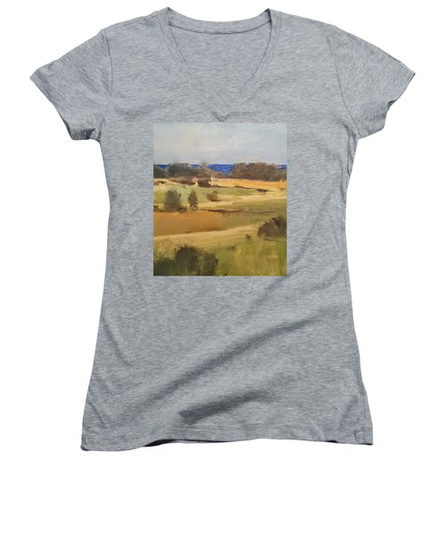 Lake Michigan Across The Field Women's V-Neck (Athletic Fit)