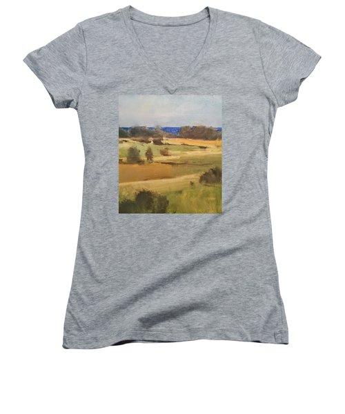 Lake Michigan Across The Field Women's V-Neck T-Shirt
