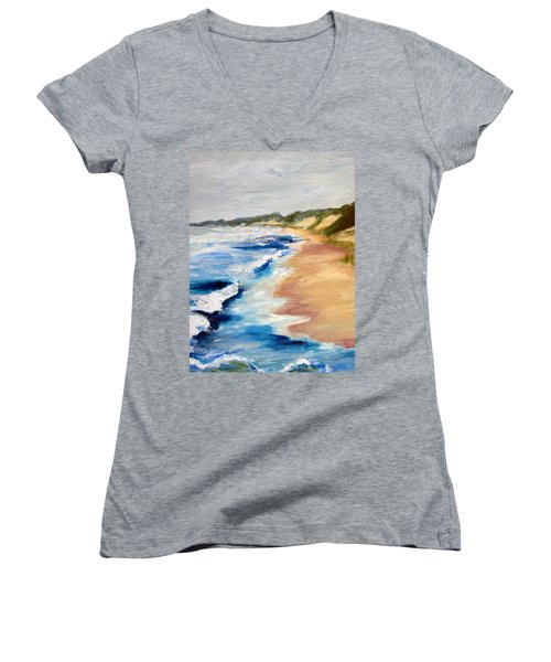 Lake Michigan Beach With Whitecaps Detail Women's V-Neck