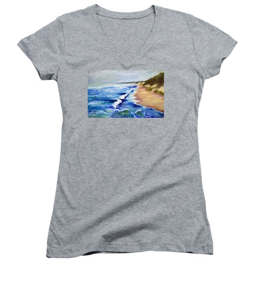 Lake Michigan Beach With Whitecaps Women's V-Neck