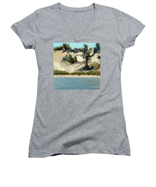 Women's V-Neck T-Shirt featuring the painting Lake Michigan Dune With Trees And Beach Grass by Michelle Calkins