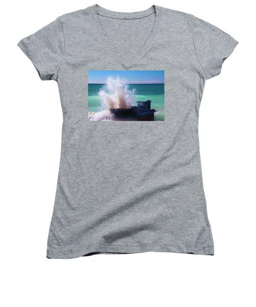Lake Michigan Wave Crash Women's V-Neck T-Shirt