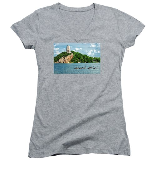Lake Murray's Gaggle Of Geese Women's V-Neck T-Shirt (Junior Cut) by Tamyra Ayles