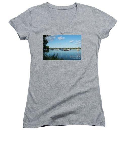 Lake Nokomis Minneapolis City Of Lakes Women's V-Neck