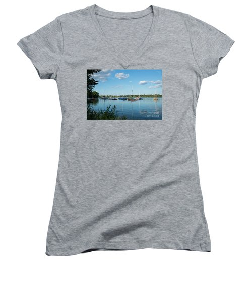 Lake Nokomis Minneapolis City Of Lakes Women's V-Neck (Athletic Fit)