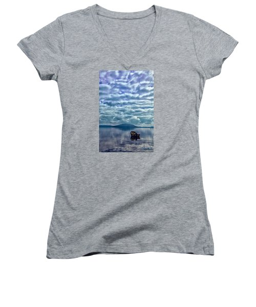 Women's V-Neck T-Shirt (Junior Cut) featuring the photograph Lake Of Beauty by Rick Bragan