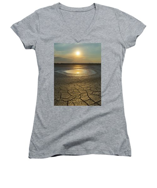 Lake On Fire Women's V-Neck (Athletic Fit)
