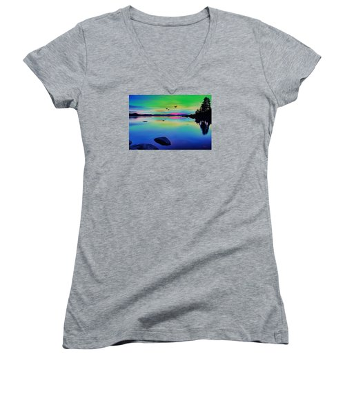 Lake Reflections 2 Women's V-Neck (Athletic Fit)