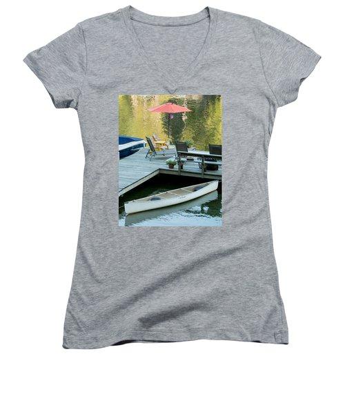 Women's V-Neck T-Shirt (Junior Cut) featuring the photograph Lake-side Dock by E Faithe Lester