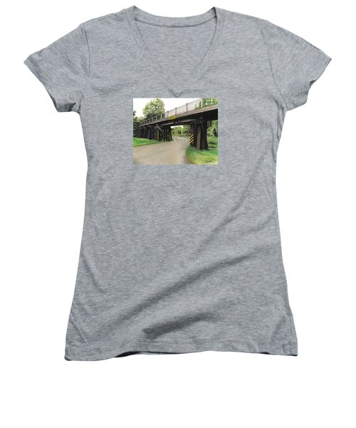 Women's V-Neck T-Shirt (Junior Cut) featuring the painting Lake St. Rr Overpass by Ferrel Cordle