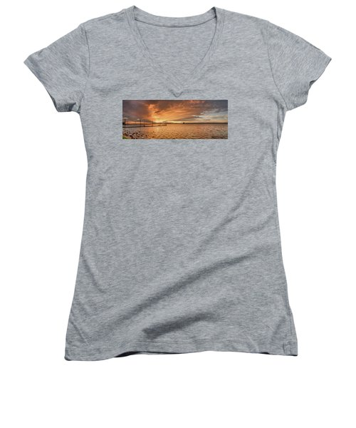 Lake Sunset Women's V-Neck (Athletic Fit)