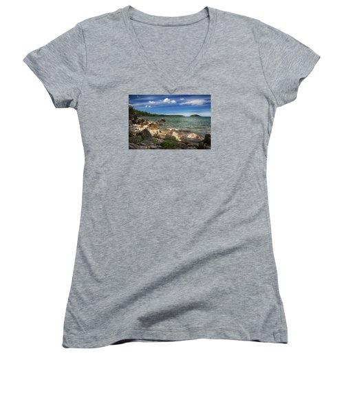 Lake Superior Women's V-Neck T-Shirt (Junior Cut) by Dan Hefle