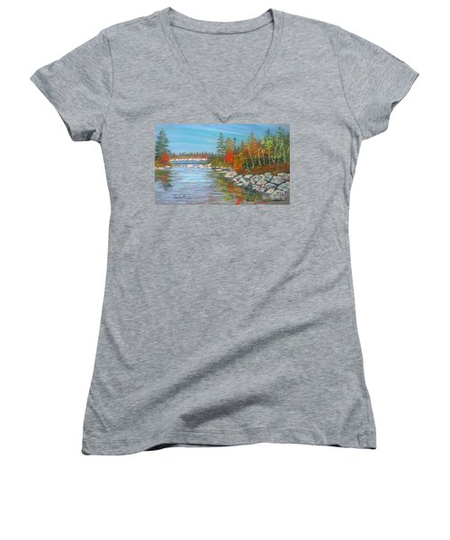 Lake Susie  Women's V-Neck T-Shirt (Junior Cut) by Rae  Smith