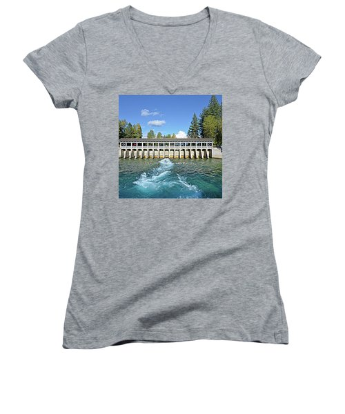 Women's V-Neck T-Shirt (Junior Cut) featuring the photograph Lake Tahoe Dam by David Lawson