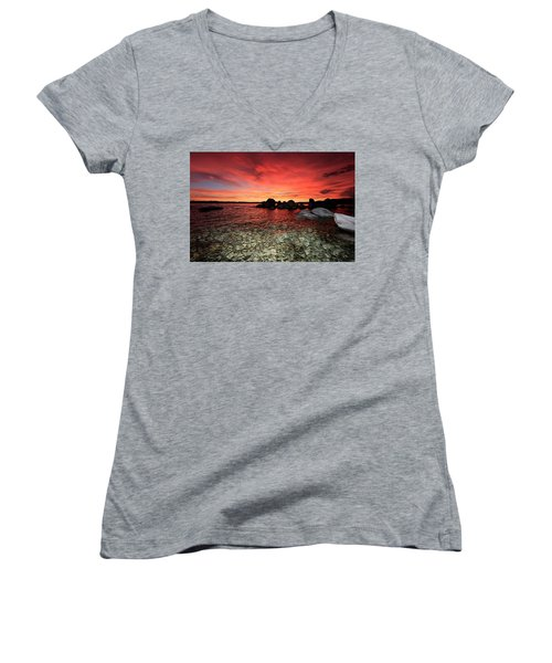 Lake Tahoe Liquid Dreams Women's V-Neck (Athletic Fit)