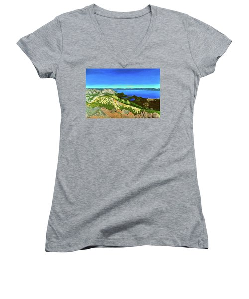 Lake Tahoe Panorama Women's V-Neck T-Shirt