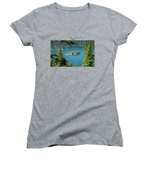 Lake Tahoe Women's V-Neck T-Shirt (Junior Cut)