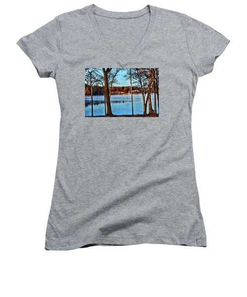 Women's V-Neck T-Shirt (Junior Cut) featuring the photograph Lake Vapors by Rick Friedle