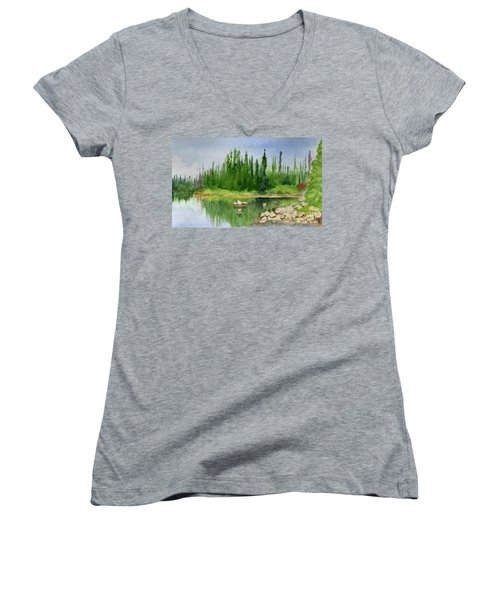 Women's V-Neck T-Shirt (Junior Cut) featuring the painting Lake View 1-2 by Yoshiko Mishina