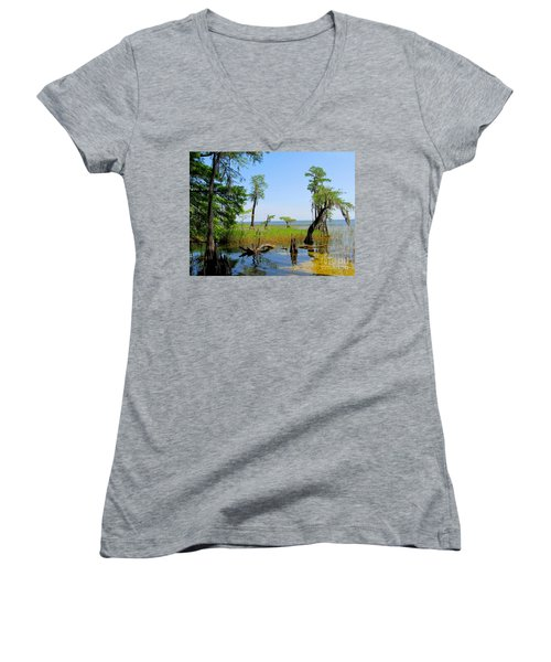 Lake Waccamaw Nc Women's V-Neck (Athletic Fit)