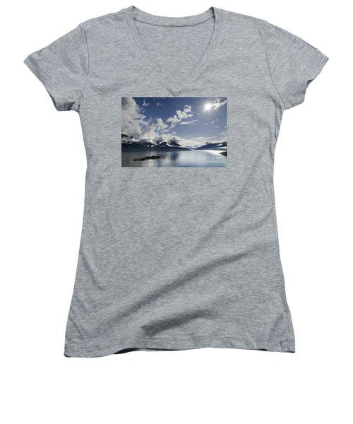 Lake With Islands Women's V-Neck (Athletic Fit)