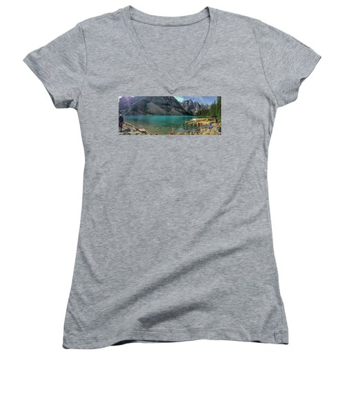 Lake With Kayaks Women's V-Neck (Athletic Fit)