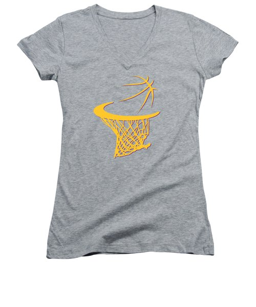 Lakers Basketball Hoop Women's V-Neck T-Shirt (Junior Cut) by Joe Hamilton