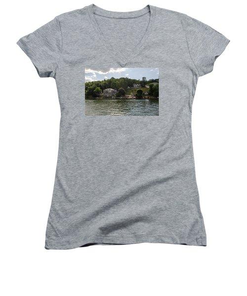 Lakeside Living Hopatcong Women's V-Neck T-Shirt (Junior Cut) by Maureen E Ritter